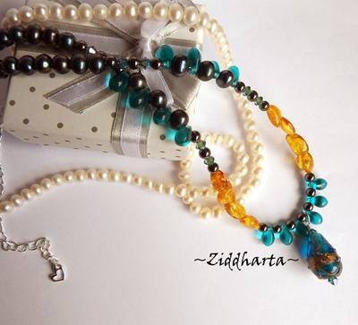 OOAK Amber TEAL #2 Necklace Glass LampWork Swarovski Rav Bernstein Bärnstens Necklace Gem Amber Hematite Necklace - Handmade by Ziddharta