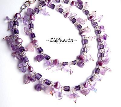 L2:63 Lilac Amethyst Fringe - Halsband Necklace Halsketten