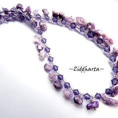 L2:64 Lilac Stone Chips Fring Necklace - unikt och personligt