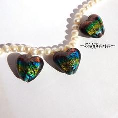 1 SilverFoil LampWork: Regnbågsfärgat Hjärta