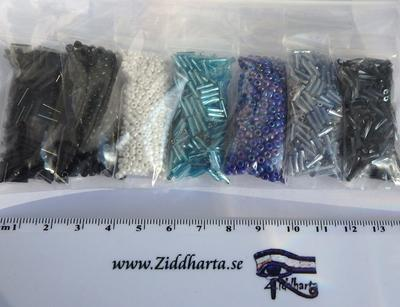 #21 REA: Seedbeads-MIX 7st olika färger: Paket #21 Blue AB Sapphire Turkos Hematite Svart Vitt