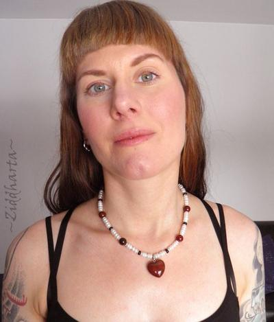 "L1:23 SET Necklace Earrings OOAK ""Chocolate Heart"" Agate Heart Necklace Freshwaterpearls Swarovski  - Handmade Jewelry and Beadings by Ziddharta"