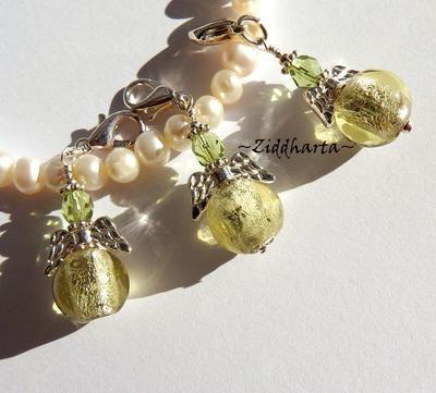 1st Ängla-hänge / berlock: SilverFoil Olive RUND LampWork: Ängla-hänge tillverkat för hand