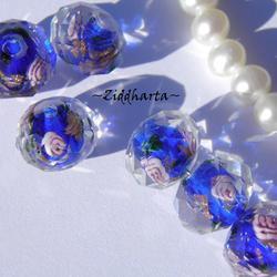 Exklusiv Handgjord LampWork glaspärla: Facetterad Rondell Rosor & guldsand - Cobolt #01