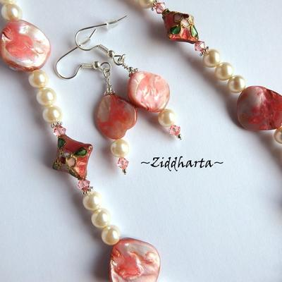 L2:70nn SET Necklace Bracelet Earrings Cloisonné Diamond Pendant Mother of Pearls Swarovski Crystals - Handmade Jewelry and Beadings by Ziddharta