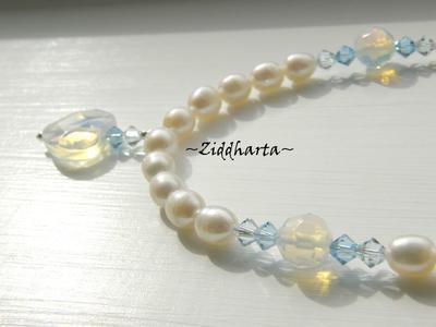 L4:117nn Opalite-serien - Facetterat HJÄRTA - White / Vita sötvattenspärlor Swarovski Crystals fascetterade Rondeller - Halsband H1 H2 / Necklace
