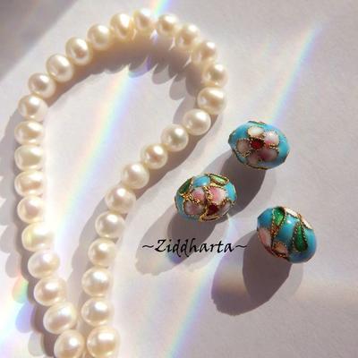 1 Cloisonné pärla: 12mm Oval Rund Turquoise Turkos #57