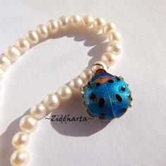 1 Cloisonné pärla: Turquoise Ladybug Turkos Nyckelpiga #49