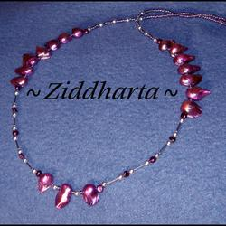 L5:162nn - Purple Silver - Purpur Lila Sötvattenspärlor Blister Silverpläterade stavar och kulor: Necklace / Halsband - handmade by Ziddharta