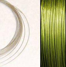 2,2m Wire 0,38mm: Olivine + 20 GP klämpärlor