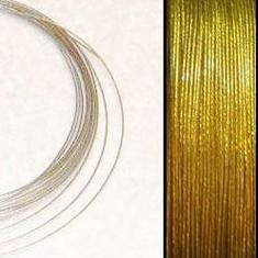 2,2m Wire 0,38mm: GoldenLime + 20 GP klämpärlor