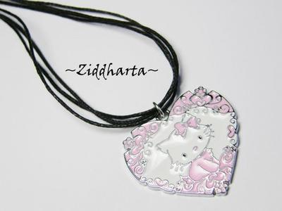"Necklace 3-strands ""Pink Hello Kitty Pajamas"" Flower Heart Enamel Pendant - Handmade Jewelry and Beadings by Ziddharta"