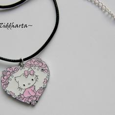 "Necklace ""Pink Hello Kitty Pajamas"" Flower Heart Enamel Pendant - Handmade Jewelry and Beadings by Ziddharta"