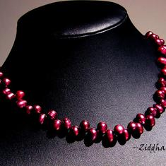 L2:54 Vinröd Collier Bröllop brud student - Sötvattenspärlor, pärl-lås - Necklace Dk Burgundy Red Topdrilled Freshwaterpearl Wedding bride
