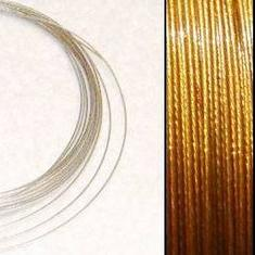 2,2m Wire 0,38mm: AntikGuld + 20 GP klämpärlor