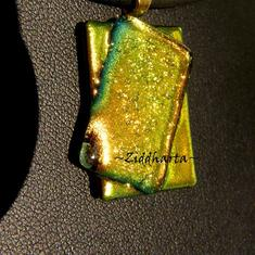 SÅLD! L3:106 OOAK Golden Copper Lime - Glassfused Dichroic Necklace Halsband OOAK - ett enda exemplar!