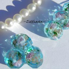 Exklusiv Handgjord LampWork glaspärla: Facetterad Rondell Rosor & guldsand - Turkquoise #17