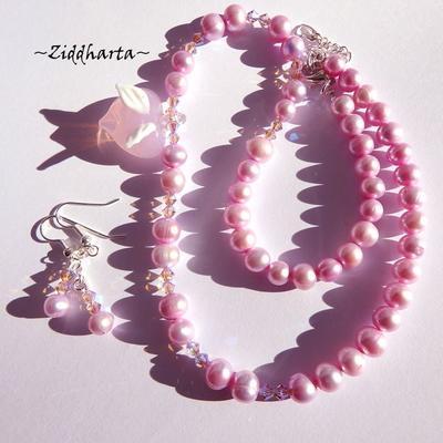 SÅLD! L3:104 Set PINK AM AB - Heart White Angel Wings Swarovski Crystals Amethyst AB x2: Halsband & örhängen - Skapad av Ziddharta - svensk smyckesdesigner