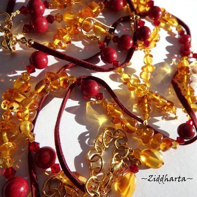 "OOAK SET Necklace Bracelet Earrings - ""Medieval GoldenRed"" Amber /Rav /Bärnsten: Handmade Jewelry by Ziddharta"