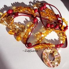 "OOAK SET Necklace Bracelet Earrings - ""Medieval GoldenRed"" Amber /Rav /Bärnsten: Handmade Jewelry by Ziddharta"