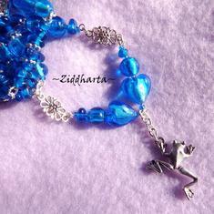 L2:49 OOAK SET Halsband armband örhängen GRODA Frog Lampwork Pärlor Beads Dk Turquoise / Deep Sapphire SET