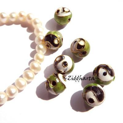1 Cloisonné pärla: Green 10mm Rund YinYang #61