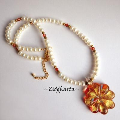 L1:24 Set OOAK Necklace Earrings LampWork Necklace Red Gold Flower Necklace Freshwater Pearls & Swarovski Necklace - Handmade Jewelry by Ziddharta