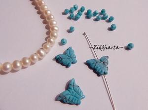 1st TURKOS Halvädelstens-Fjäril: Imiterad Turquoise SMALL ca15 x 11 x 3mm