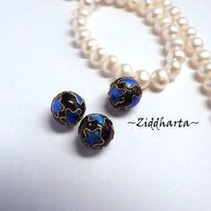 "1 Cloisonné pärla: 10mm Svart ""Stjärnkula"" #33"