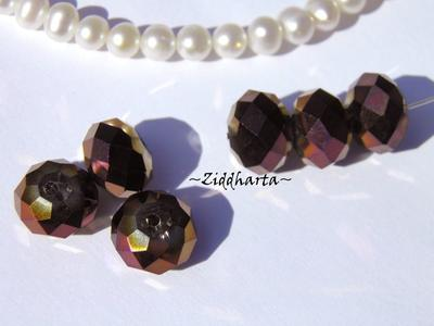 Lyx kristall - Kristall-pärla - Magenta /Guld 10x8mm Rondell