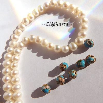 1 Cloisonné pärla: 4mm Rund Kula Turquoise Turkos #59