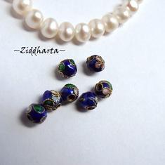 1 Cloisonné pärla: BLÅTT 5mm Kula #30