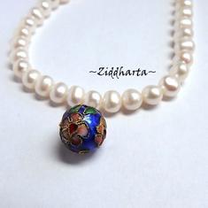 1 Cloisonné pärla: BLÅ 10mm Kula till hänge #28