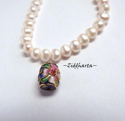 1 Cloisonné pärla: BLÅ Barrel / Tunna till hänge #25