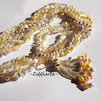 L4:131 - CITRINE Multi-strands - Gemstone Necklace and earrings: White & Lavendel FreshwaterPearls 7-strands OOAK