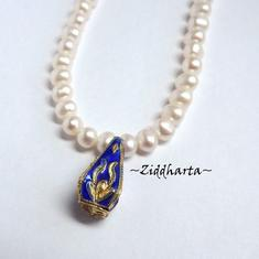 1 Cloisonné pärla: BLÅ Kantig VAS till hänge #22