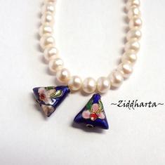 1 Cloisonné pärla: BLÅ Triangel till hänge #21