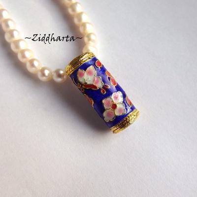 1 Cloisonné pärla: BLÅ Scroll till hänge #17