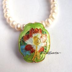 1 Cloisonné pärla: GREEN Oval Blomma till hänge #12