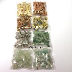 #H2 Borrad Halvädelstens chips: Paket med massa olika - Grön Aventurin Amazonite Flourit Kiwi Jaspis