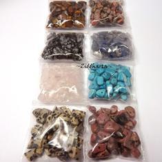 #H3 Borrad Halvädelstens chips: Paket med massa olika - RosenQuartz Turkos Tiger Eye Blue Aventurin mm