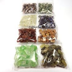 #H5 Borrad Halvädelstens chips: Paket med massa olika - Blå Sodalite New Jade Apple Green Agat Jaspis