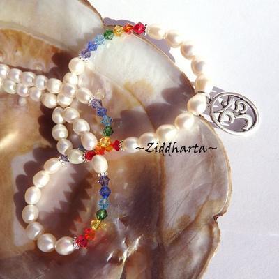 L2:74nn YOGA Chakran Rainbow PRIDE Swarovski Crystals - High Quality White Freshwaterpearls  - Handmade Jewelry and Beadings by Ziddharta Made in Sweden