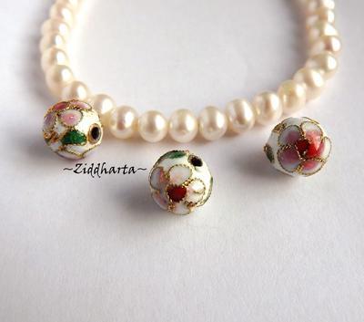 1 Cloisonné pärla: VITA 10mm Kula #06