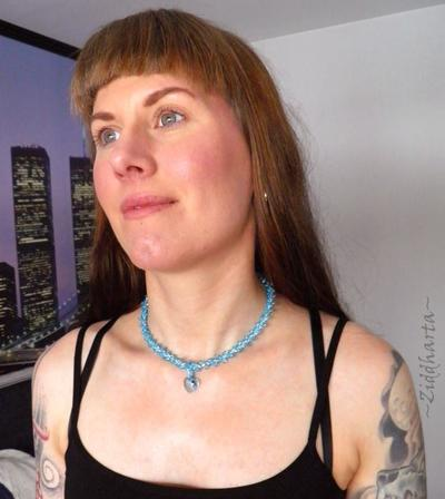 """L1:34 Two necklaces in One: Aqua """"Turkos Blue Sarovski Heart"""" Necklace Sky Blue Necklace Swarovski Heart Necklace - Handmade Jewelry by Ziddharta"""