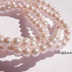 8mm Pearlecent Glaspärlor - 5st Lt Pink / LjusRosa