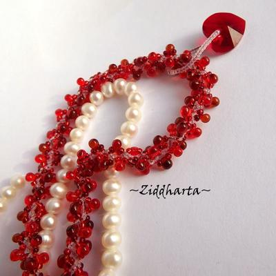 "L1:36 Two necklaces in One: ""Love Red Swarovski Heart"" Necklace Swirl Spiral White cord Swarovski Heart Necklace - Handmade Jewelry by Ziddharta"