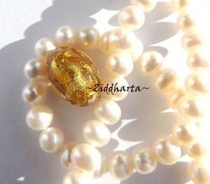 1st LampWork pärla: Oval Antique GOLD SilverFoil - 7957