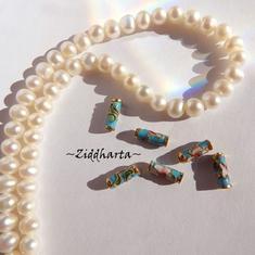 1 Cloisonné pärla: 10x3mm Rund Tub Tubes Turquoise Turkos #60