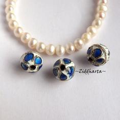 1 Cloisonné pärla: VITA 12mm Kula till hänge #03